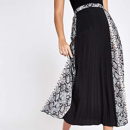 River Island Black block snake print pleated midi skirt