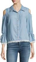 Splendid Cold-Shoulder Button-Front Chambray Shirt, Light Blue
