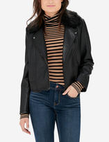 The Limited Faux Fur Collar Motorcycle Jacket