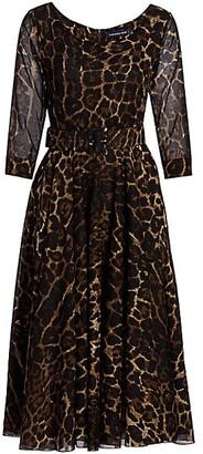 Samantha Sung Leopard-Print Belted Three-Quarter Sleeve Boatneck Dress