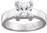 Personalized Sterling Silver Square CZ Engraved Engagement Ring