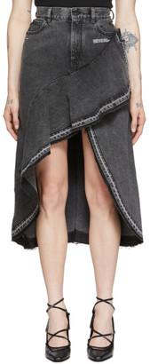 Off-White Grey Denim Asymmetric Skirt