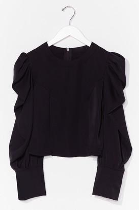 Nasty Gal Womens Hot Puff Sleeve Zip Blouse - Black - L