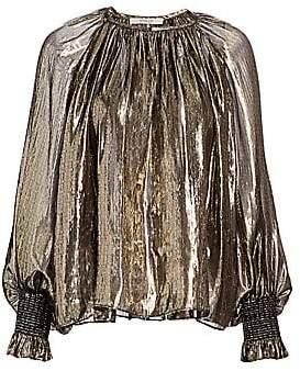Derek Lam 10 Crosby Women's Helena Lamé Silk-Metallic Puff-Sleeve Blouse