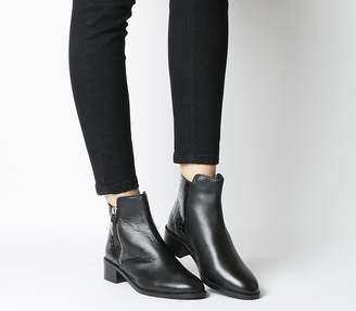Office Actor Side Zip Flat Ankle Boots