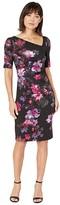 Adrianna Papell Elbow Sleeve Watercolor Lillies Sheath Dress (Black Multi) Women's Dress