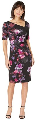 Adrianna Papell Elbow Sleeve Watercolor Lillies Sheath Dress (Black Multi) Women's Dress