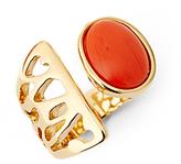 Diane von Furstenberg Coral Cabachon Cut-Out Ring