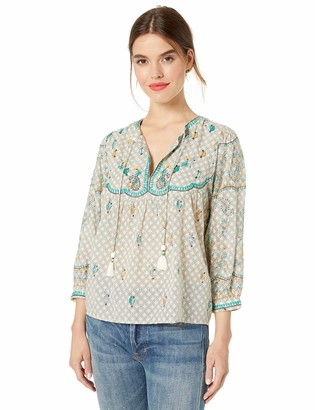 Lucky Brand Women's Evelyn Embroidered Peasant TOP