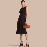 Burberry Sleeveless Ruffle Trim Crepe Dress