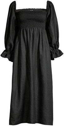 Sleeper Atlanta Puff-Sleeve Smock-Bodice Linen A-Line Midi Dress