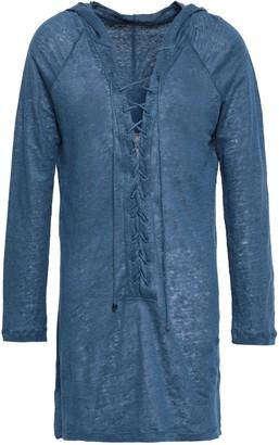 Majestic Filatures Lace-up Melange Linen Hooded Tunic