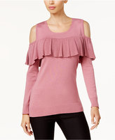 Thalia Sodi Ruffled Cold-Shoulder Sweater, Created for Macy's