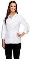 As Is Denim & Co. Stretch Woven 3/4 Sleeve Peplum Shirt