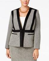 Kasper Plus Size Faux-Suede-Trim Tweed Blazer