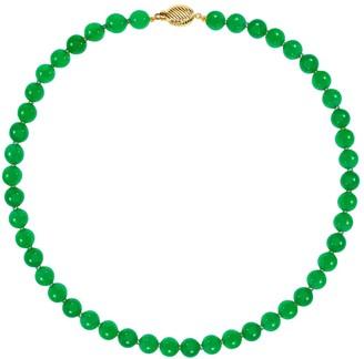 14K Gold Green Jade Bead Necklace