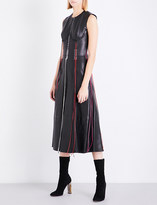 Alexander McQueen Braided fit-and-flare leather dress