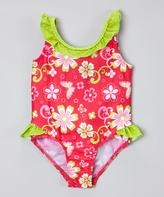Pink Platinum Fuchsia & Green Ruffle Swimsuit - Infant & Toddler