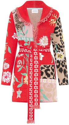 Hayley Menzies - Red and Pink Enchanted Leopard Short Cardigan - s