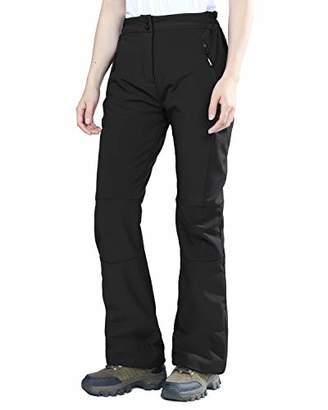 Outdoor Ventures Women's Sleek Waterproof Softshell Fleece Lined Ski Snow Insulated High Rise Pants with Bottom Zipper