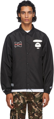 AAPE by A Bathing Ape Black Graphic Coach Jacket