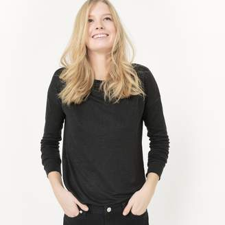 La Redoute Collections Long-Sleeved Linen T-Shirt with Boat-Neck