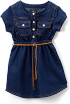 Dollhouse Dark Blue Denim Belted Button-Up Dress - Infant, Toddler & Girls