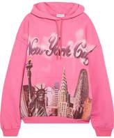Balenciaga Oversized Printed Cotton-jersey Hooded Top - Fuchsia