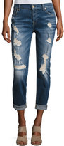 7 For All Mankind Josefina Relaxed-Fit Distressed Jeans, Blue