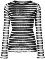 Fuzzi striped V-neck top
