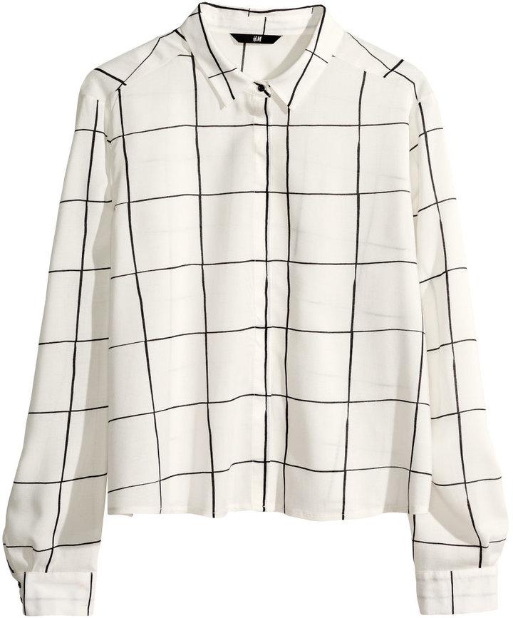 H&M Patterned Blouse - White - Ladies
