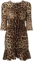 Dolce & Gabbana leopard print peplum dress - women - Silk/Cotton/Spandex/Elastane - 38