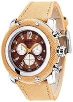 Glam Rock Women's Miami Diamond 46mm Orange Leather Band Steel Case Swiss Quartz MOP Dial Watch GR11107