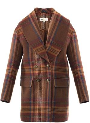 Muza Double-Breasted Checked Wool Blazer