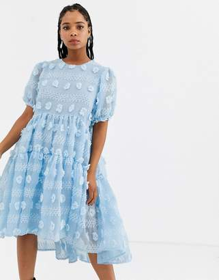 Sister Jane midi smock dress with full tiered skirt in texture-Blue