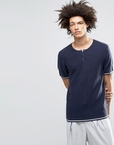 Asos Knitted T-Shirt with Grandad Neck in Merino Wool Mix