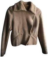agnès b. Beige Fur Leather Jacket for Women