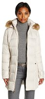 Kenneth Cole Women's Chevron Side Panel Down Coat with Faux Fur-Trim Hood