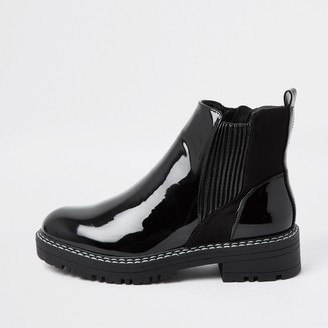 River Island Womens Black patent chunky chelsea flat ankle boots