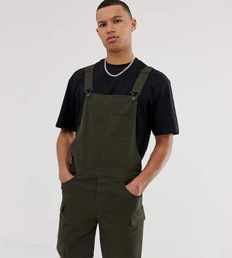 Asos Design DESIGN Tall skinny cargo short overalls in dark khaki-Green