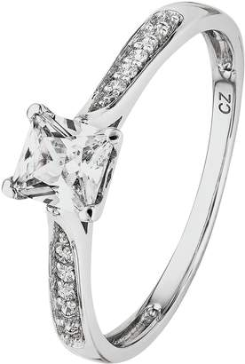 Revere 9ct White Gold Cubic Zirconia Shoulder Ring
