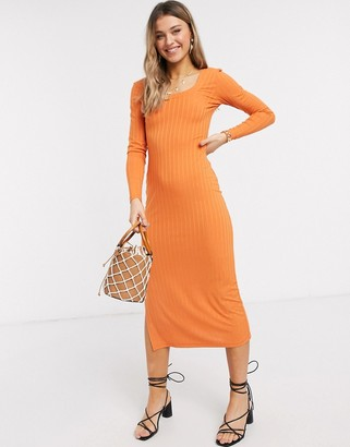 ASOS DESIGN long sleeved square neck midi dress in rib in orange