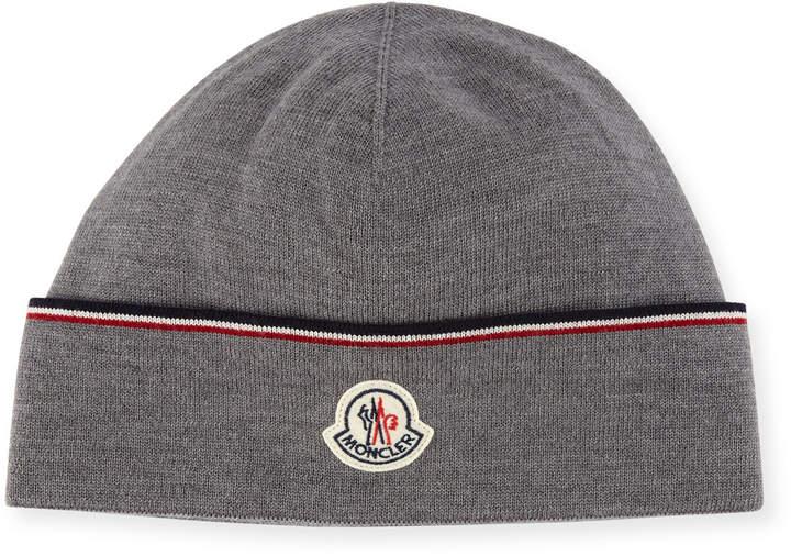Moncler Wool Striped Logo Beanie Hat