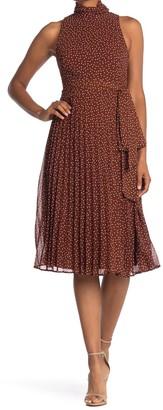 Taylor Chiffon Dot Mock Neck Dress
