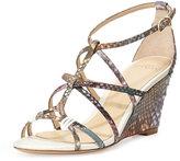 Alexandre Birman Mallica Python Wedge Sandal, Acquarelie/Ivory