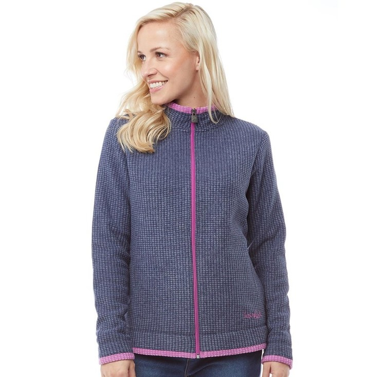 Weird Fish Womens Full Zip Ariana Grid Fleece Dark Navy