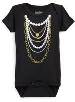 N. Infant Girl's Sara Kety Baby & Kids 'Gold 'N Pearls' Short Sleeve Bodysuit
