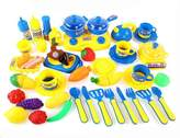 YATE 46 Piece Kitchen Cooking Set Girls Boys Fruit Vegetable Tea Playset Toy for Kids Early Age Development Educational Pretend Play Food Assortment Set