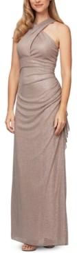 Alex Evenings Twisted Metallic Halter Gown