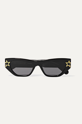 Stella McCartney Stars Cat-eye Bio-acetate And Gold-tone Sunglasses - Black